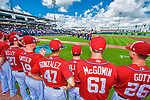 28 February 2017: Members of the  Washington Nationals watch pre-game ceremonies prior to the Spring Training inaugural game against the Houston Astros at the Ballpark of the Palm Beaches in West Palm Beach, Florida. The Nationals defeated the Astros 4-3 in Grapefruit League play. Mandatory Credit: Ed Wolfstein Photo *** RAW (NEF) Image File Available ***