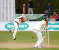 Ivan Thomas of Kent bowls to Haris Sohail during day 1 of the four day tour match between Kent CCC and Pakistan at the St Lawrence Ground, Canterbury, on Sat April 28, 2018