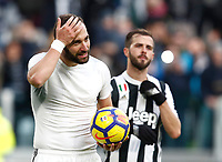 Calcio, Serie A: Juventus - Sassuolo, Torino, Allianz Stadium, 4 Febbraio 2018. <br /> Juvemtu's Gonzalo Higuain (l) and Miralem Pjanic (r)  celebrate after winning 7-0 the Italian Serie A football match between Juventus and Sassuolo at Torino's Allianz stadium, February 4, 2018.<br /> UPDATE IMAGES PRESS/Isabella Bonotto