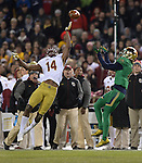 (Boston, MA, 11/21/15) Boston College's Gabriel McClary is unable to break up a pass caught by Notre Dame's Will Fuller during the fourth quarter as Notre Dame hosts Boston College at Fenway Park in Boston on Saturday, November 21, 2015. Photo by Christopher Evans