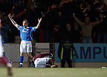Alan Maybury aghast as ref Brian Winter awards a last gasp penalty to Hearts after his challenge on Suso Santana