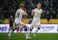 FUSSBALL   1. BUNDESLIGA   SAISON 2011/2012   18. SPIELTAG Borussia Moenchengladbach - FC Bayern Muenchen    20.01.2012 Mike Hanke und Marco Reus  (v.l., beide  Borussia Moenchengladbach) jubeln nach dem 1:0