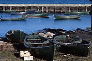Nova Scotia, Canada, 1967. Fishing boats on the shore.