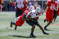 College Park, MD - April 27, 2019:  Maryland Terrapins wide receiver Brian Cobbs (15) gets tackled by Maryland Terrapins defensive back Ken Montgomery (15)during the spring game at  Capital One Field at Maryland Stadium in College Park, MD.  (Photo by Elliott Brown/Media Images International)
