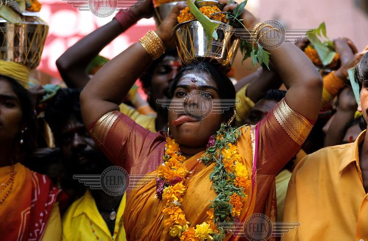 A woman taking part in the Shivaratri Festival.