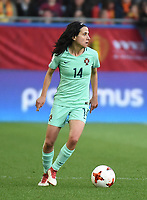 20180406 - LEUVEN , BELGIUM : Portugese Dolores Silva  pictured during the female soccer game between the Belgian Red Flames and Portugal , the fourth game in the qualificaton for the World Championship qualification round in group 6 for France 2019, Friday 6 th April 2018 at OHL Stadion Den Dreef in Leuven , Belgium. PHOTO SPORTPIX.BE | DIRK VUYLSTEKE