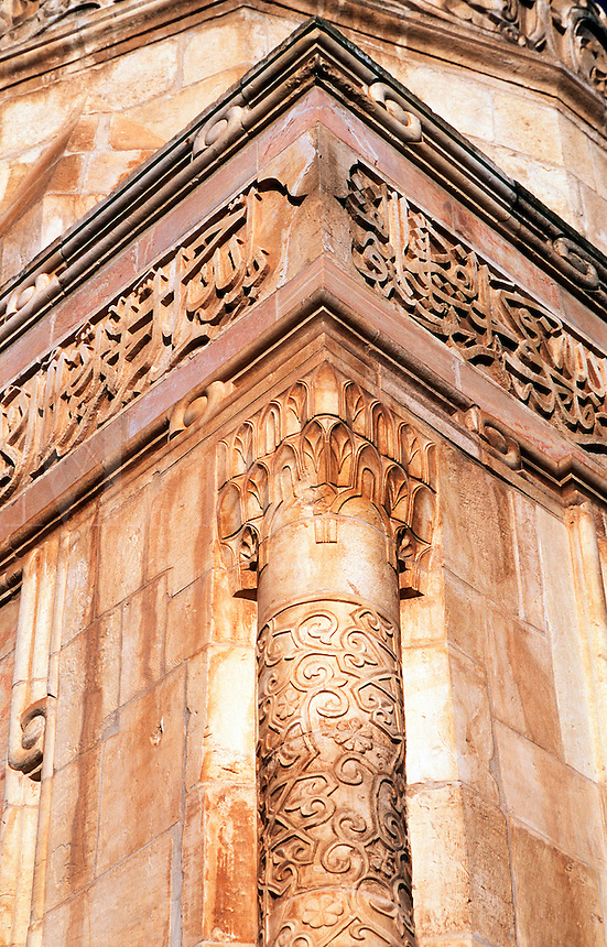 Detail of the ornmental carved column cornice on the exterior of the Al-Asqua Mosque. Jerusalem, Israel.