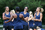 CARY, NC - JUNE 15: Jessica McDonald (left), Abby Erceg (center), and Lynn Williams (right) listen to Taylor Smith. The North Carolina Courage held a training session on June 15, 2017, at WakeMed Soccer Park Field 7 in Cary, NC.