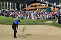 Scott Hend (AUS) plays his 2nd shot from a fairway bunker on the 18th hole during Sunday's Final Round of the 2017 Omega European Masters held at Golf Club Crans-Sur-Sierre, Crans Montana, Switzerland. 10th September 2017.<br /> Picture: Eoin Clarke | Golffile<br /> <br /> <br /> All photos usage must carry mandatory copyright credit (&copy; Golffile | Eoin Clarke)