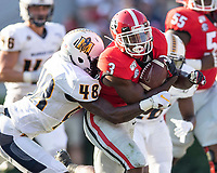 ATHENS, GA - SEPTEMBER 7: Zamir White #3 makes a run with Murray State's Don Parker #48 pursuing during a game between Murray State Racers and University of Georgia Bulldogs at Sanford Stadium on September 7, 2019 in Athens, Georgia.