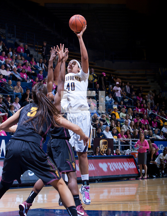 February 8th, 2013: California's Justine Hartman shoots over ASU defenders during a game at Haas Pavilion in Berkeley, Ca.   California defeated ASU 66 - 53