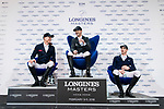 The temporary winning group of the Longines Grand Prix during the Longines Masters of Hong Kong at AsiaWorld-Expo on 11 February 2018, in Hong Kong, Hong Kong. Photo by Diego Gonzalez / Power Sport Images