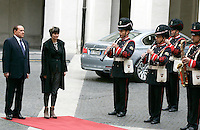 Il Presidente del Consiglio Silvio Berlusconi, a sinistra, accoglie il Presidente della Svizzera Micheline Calmy-Rey, a Palazzo Chigi, Roma, 1 giugno 2011..Italian Premier Silvio Berlusconi, left, welcomes the Swiss President Micheline Calmy-Rey at Chigi Palace, Rome, 1 june 2011..UPDATE IMAGES PRESS/Riccardo De Luca