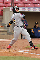 Burlington Bees shortstop Michael Stefanic (12) swings at a pitch against the Cedar Rapids Kernels at Veterans Memorial Stadium on April 14, 2019 in Cedar Rapids, Iowa.  The Bees won 6-2.  (Dennis Hubbard/Four Seam Images)