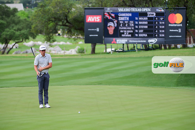 Cameron Smith (USA) lines up his putt on 18 during round 2 of the Valero Texas Open, AT&amp;T Oaks Course, TPC San Antonio, San Antonio, Texas, USA. 4/21/2017.<br /> Picture: Golffile | Ken Murray<br /> <br /> <br /> All photo usage must carry mandatory copyright credit (&copy; Golffile | Ken Murray)