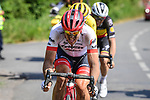 John Degenkolb (GER) Trek-Segaferdo leads Yellow Jersey Greg Van Avermaet (BEL) BMC Racing and Yves Lampaert (BEL) Quick-Step Floors during Stage 9 of the 2018 Tour de France running 156.5km from Arras Citadelle to Roubaix, France. 15th July 2018. <br /> Picture: ASO/Pauline Ballet | Cyclefile<br /> All photos usage must carry mandatory copyright credit (&copy; Cyclefile | ASO/Pauline Ballet)