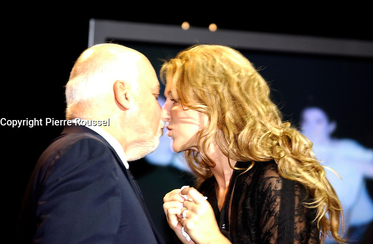 September 26. 2002, Montreal, Quebec, Canada; <br /> <br /> Celine Dion (R) and her husband Rene Angelil,  unveil her Bronze Star at the Pepsi Forum's Walk of Fame, September 26 2002, Montreal, CANADA.<br /> <br /> <br /> <br /> <br /> <br /> <br /> t.