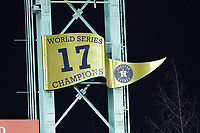 The Houston Astros 2017 World Series Champions banner hangs above the left field wall during game six of the 2020 Shriners Hospitals for Children College Classic between the Arkansas Razorbacks and the Texas Longhorns at Minute Maid Park on February 28, 2020 in Houston, Texas. The Longhorns defeated the Razorbacks 8-7. (Brian Westerholt/Four Seam Images)