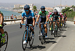 The peloton including Green Jersey Alejandro Valverde (ESP) Movistar Team leave the coast after the start of Stage 4 of the La Vuelta 2018, running 162km from Velez-Malaga to Alfacar, Sierra de la Alfaguara, Andalucia, Spain. 28th August 2018.<br /> Picture: Colin Flockton | Cyclefile<br /> <br /> <br /> All photos usage must carry mandatory copyright credit (&copy; Cyclefile | Colin Flockton)
