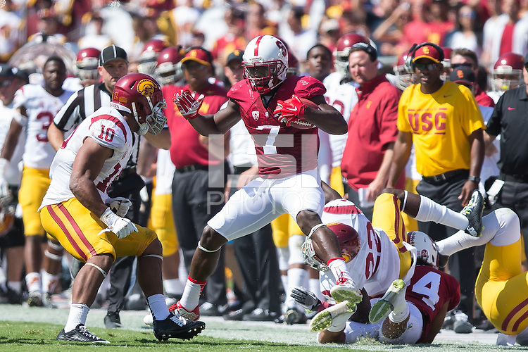 Stanford, California - September, 06 2014:  Stanford vs USC at Stanford Stadium. The Trojans defeated the Cardinal 13-10.