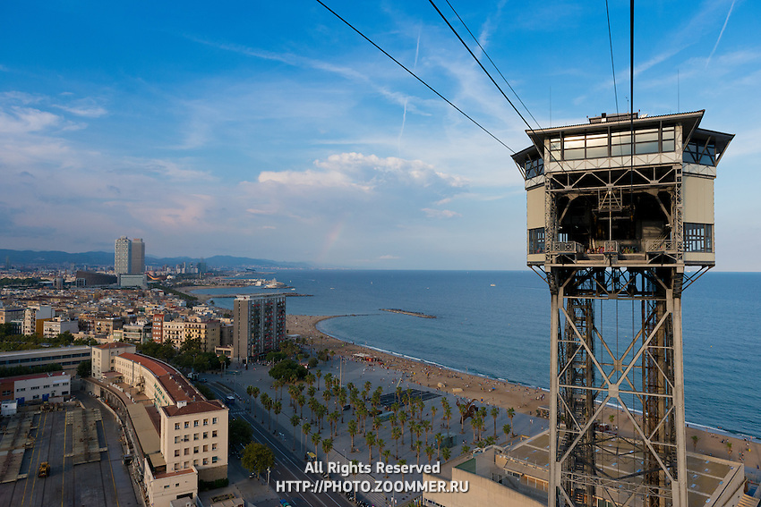 Montjuic cable car and Barcelona beach from above