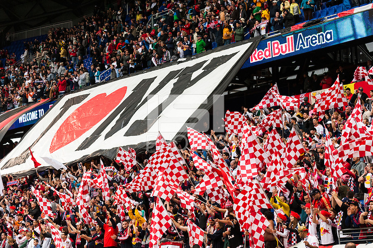New York Red Bulls fans celebrate after the match. The New York Red Bulls defeated the Los Angeles Galaxy 1-0 during a Major League Soccer (MLS) match at Red Bull Arena in Harrison, NJ, on May 19, 2013.