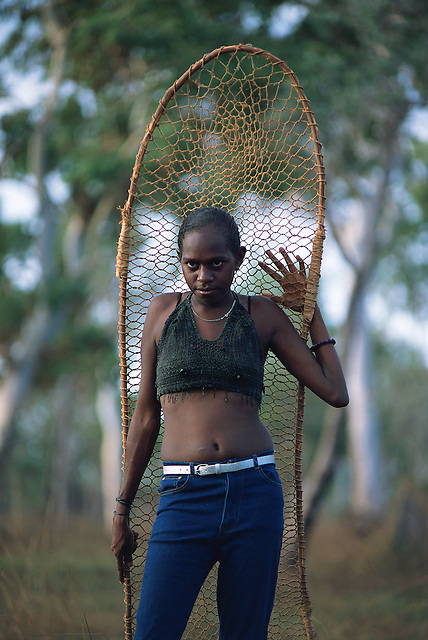 Eloise Yunkaporta with fish net, Aurukun, Cape York Peninsula.
