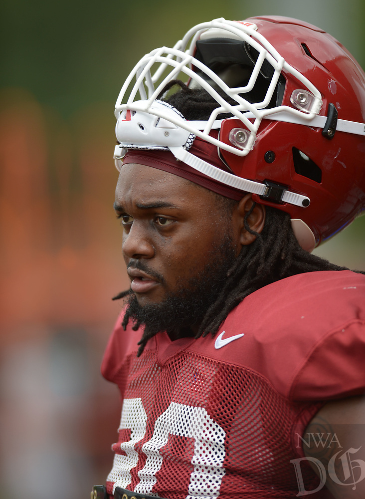 NWA Democrat-Gazette/ANDY SHUPE<br /> Arkansas defensive lineman Armon Watts (90) pauses Tuesday, Aug. 7, 2018, during practice at the university practice fields in Fayetteville. Visit nwadg.com/photos to see more photographs from the practice.
