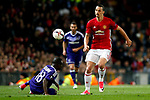 Zlatan Ibrahimovic of Manchester United takes on Frank Acheampong of Anderlecht during the UEFA Europa League Quarter Final 2nd Leg match at Old Trafford, Manchester. Picture date: April 20th, 2017. Pic credit should read: Matt McNulty/Sportimage