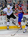 3 February 2009: Pittsburgh Penguins' center Jordan Staal collides with Montreal Canadiens left wing forward Andrei Kostitsyn at the Bell Centre in Montreal, Quebec, Canada. The Canadiens defeated the Penguins 4-2. ***** Editorial Sales Only ***** Mandatory Photo Credit: Ed Wolfstein Photo