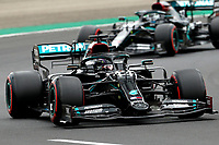 18th July 2020, Hungaroring, Budapest, Hungary; F1 Grand Prix of Hungary, qualifying sessions;  44 Lewis Hamilton GBR, Mercedes-AMG Petronas Formula One Team on his way to winning pole and 77 Valtteri Bottas FIN, Mercedes-AMG Petronas Formula One Team