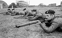 Members of the UDR, Ulster Defence Regiment, undergoing weapons training and shooting practice at Kinnegar Army Camp, Holywood, Co Down, N Ireland, March 1970. 197003000120a<br /> <br /> Copyright Image from Victor Patterson, 54 Dorchester Park, Belfast, UK, BT9 6RJ<br /> <br /> t1: +44 28 9066 1296<br /> t2: +44 28 9002 2446<br /> m: +44 7802 353836<br /> <br /> e1: victorpatterson@me.com<br /> e2: victorpatterson@gmail.com<br /> <br /> IMPORTANT: My Terms and Conditions of Business are at www.victorpatterson.com