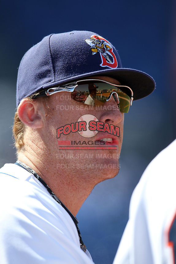Binghamton Mets first baseman Allan Dykstra #24 in the dugout during a game against the Akron Aeros at NYSEG Stadium on April 7, 2012 in Binghamton, New York.  Binghamton defeated Akron 2-1.  (Mike Janes/Four Seam Images)