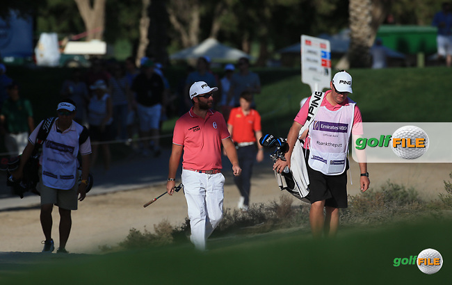 Andy Sullivan (ENG) cards a 66 to be back in contention during Round Two (Pink Friday) of the 2016 Omega Dubai Desert Classic, played on the Emirates Golf Club, Dubai, United Arab Emirates.  05/02/2016. Picture: Golffile | David Lloyd<br /> <br /> All photos usage must carry mandatory copyright credit (&copy; Golffile | David Lloyd)