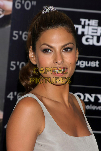 "EVA MENDES .The World Premiere of ""The Other Guys"" at the Ziegfeld Theater, New York, NY, USA..August 2nd, 2010.headshot portrait grey gray silver sleeveless .CAP/LNC/TOM.©TOM/LNC/Capital Pictures."