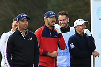 Ricardo Santos (POR), Gregory Havret (FRA) and Jose-Filipe Lima (POR) on the 8th tee during Round 2 of the Challenge Tour Grand Final 2019 at Club de Golf Alcanada, Port d'Alcúdia, Mallorca, Spain on Friday 8th November 2019.<br /> Picture:  Thos Caffrey / Golffile<br /> <br /> All photo usage must carry mandatory copyright credit (© Golffile | Thos Caffrey)