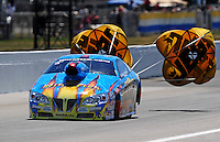 Sept. 6, 2010; Clermont, IN, USA; NHRA pro stock driver Greg Stanfield during the U.S. Nationals at O'Reilly Raceway Park at Indianapolis. Mandatory Credit: Mark J. Rebilas-
