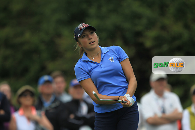 Sierra Brooks on the 8th tee during the Friday afternoon Fourballs of the 2016 Curtis Cup at Dun Laoghaire Golf Club on Friday 10th June 2016.<br /> Picture:  Golffile | Thos Caffrey