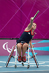 Great Britain's Jordanne Hunt competes in the first round of the Wheelchair Tennis at the London Paralympic Games  1.9.12