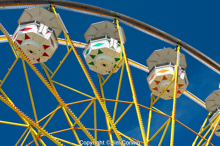 Ferris wheel at Evergreen State Fair close up of gondolas Monroe Washington State USA