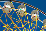 Ferris wheel at Evergreen State Fair close up of gondolas Monroe Washington State USA