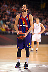 Turkish Airlines Euroleague 2018/2019. <br /> Regular Season-Round 24.<br /> FC Barcelona Lassa vs R. Madrid: 77-70. <br /> Pau Ribas.