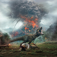 Jurassic World: Fallen Kingdom (2018) <br /> Promotional art with Bryce Dallas Howard, Chris Pratt &amp; Justice Smith<br /> *Filmstill - Editorial Use Only*<br /> CAP/MFS<br /> Image supplied by Capital Pictures