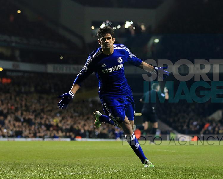 Chelsea's Diego Costa celebrates scoring his sides opening goal<br /> <br /> Barclays Premier League - Tottenham Hotspur vs Chelsea - White Hart Lane  - England - 1st January 2015 - Picture David Klein/Sportimage