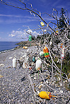Lobster buoys marking a trail in Acadia National Park, Maine, USA