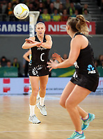 23.09.2018 Silver Ferns Laura Langman in action during the Silver Ferns v Australia netball test match at the Melbourne Arena in Melbourne, Australia. Mandatory Photo Credit ©Michael Bradley.