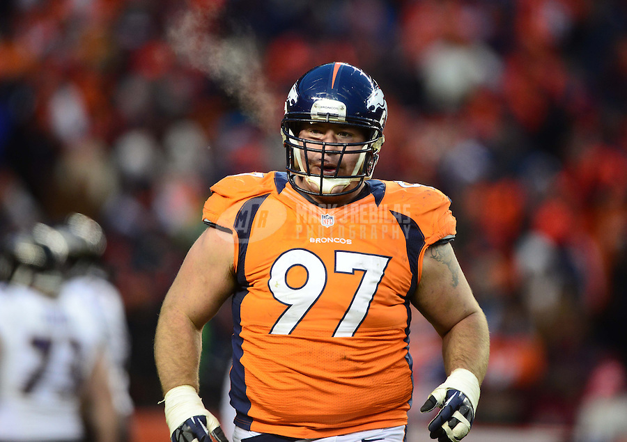 Jan 12, 2013; Denver, CO, USA; Denver Broncos tackle Justin Bannan (97) against the Baltimore Ravens during the AFC divisional round playoff game at Sports Authority Field.  Mandatory Credit: Mark J. Rebilas-