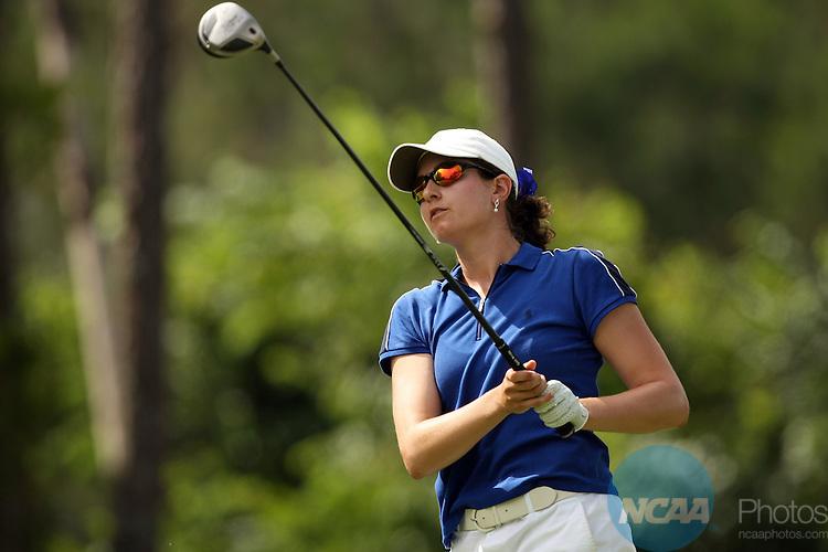 25 MAY 2007:  Jennifer Pandolfi of Duke University tees off during the Division I Women's Golf Championship held at the LPGA International Legends Golf Course in Daytona Beach, FL. Pandolfi tied for 17th place with a +11 score.  Duke University won the team national title.  Jamie Schwaberow/NCAA Photos