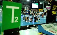 Handball 2. Bundesliga Herren - SC DHfK gegen HC Erlangen am 05.11.2013 in Leipzig (Sachsen). <br /> IM BILD: Timeout DHfK.<br /> Foto: Norman Rembarz / aif