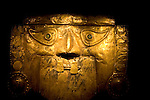 Pre-columbian gold mask at the Palace of the Governors, Museum of New Mexico, Santa Fe, New Mexico